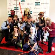 Star Wars Steampunk Universe Cosplay Group Join Founder Susy Botello (right) and Ambassador Aaron Nabus (left) on red carpet at IMFF 2017
