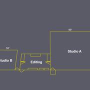 Studio A-50x50x20 White Wall, Studio B-24x16x10 Green Screen