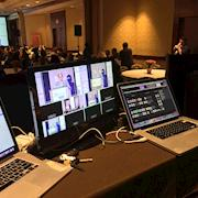 Multicamera coverage of Women in Technology with live stream on youtube live.