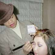 Behind the scenes shot of Brenda Song for ABC TV appearance. Makeup and hair by Candace Corey.