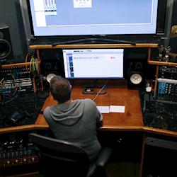 Joe getting some post audio work done.