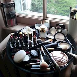 makeup setup at historic Brick House at Shelburne Farms, VT