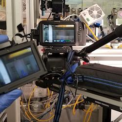 computer-controlled cinema-cam on slider with directing monitor