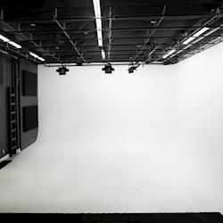 23 ft wide x 32 ft long x 15 ft high cyc wall with full grid