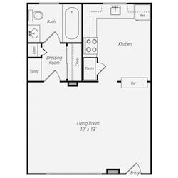 Furnished Studio Floor Plan