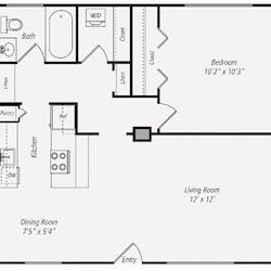 Furnished One-Bedroom Floor Plan