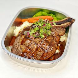 Bone-In Ribeye with garlic mashed potatoes and steamed brocolli and carrots