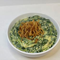 Creamed Spinach topped with fried onions