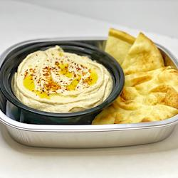Mish Mish Hummus with frash baked pita slices