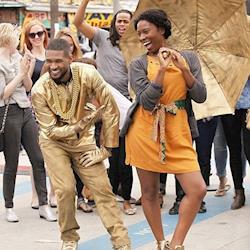 Usher in a custom gold street performer character. Costume designed: Jessica Huerta