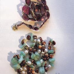 Watermelon Tourmaline, Peruvian Opal & Freshwater Pearls