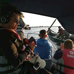 Filming on the water for S4C Welsh TV - Will&Aeron travel show in Romania