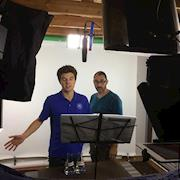 Recording voiceover in the Enlightened Pictures studio, Los Angeles.