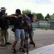 "Setting up a jib shot for HGTV's ""You Live in What?"" in Boulder, Colorado"