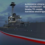A model of HMS Dreadnaught created from images of the Internet in Autodesk Maya and textured via Photoshop.