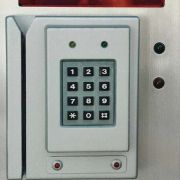 """""""Card Swipe/Keypad Access Control Device"""" featuring programmable alphanumeric LED display and LED status indicators."""