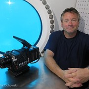 Jonathan Bird inside Aquarius Reef Base in Key Largo as part of a fulldome film about astronaut training.