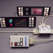 Featured cabled remote control of illuminated indicators and sequenced bar-graph LED display (remote control components shown).