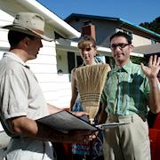 Andy Linda directing actors Melinda Vyvyan and Daniel Gamburg for a PSA.