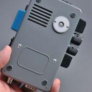 "Rear of unit showing the simulated ""EM"" sensor."
