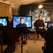 Interview set up with backdrop with Psychic Mark Anthony