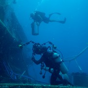 Jonathan filming a support diver at Aquarius Reef Base, Key Largo, Florida, as part of a giant screen (fulldome) film about astronaut training.