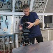 Jonathan Bird filming inside Aquarius Reef Base off Key Largo, Florida.