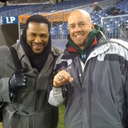 """Jerome Bettis """"The Bus"""" lets Brian Clark wear his SuperBowl Ring. Shooting for NBC"""