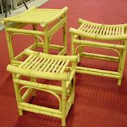 A VARIETY OF BAMBOO TABLES LARGE & SMALL