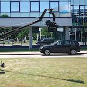 Bavaria, germany. Crane with remote head - industrial shooting