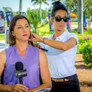 Touch ups for the beautiful Paige during commercial break for Morning Drive on Golf Channel