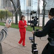 Shooting a broadcast promo on Chicago's lake shore with a Steadicam.