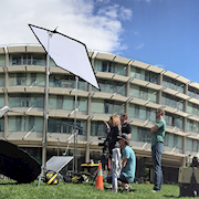 On location shoot at UC Davis for a video promoting bicycle friendly Universities