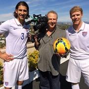 Shooting LA Galaxy footballer Omar Gonzalez and ESPN Sportscaster Alexi Lalas