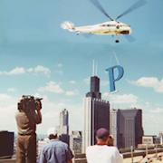 Blast from the Past: Filming installation of new sign on 50 story Prudential building in Chicago