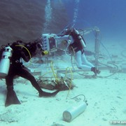 Jonathan Bird filming astronauts training underwater at Aquarius Reef Base, Key Largo, Florida, as part of a giant screen (fulldome) film about astronaut training.