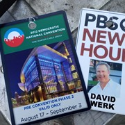 My media badge for working the 2012 Democratic Convention for PBS Newshour