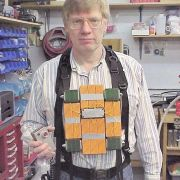 """""""Kryptonite Bomb Vest"""" from the TV series SMALLVILLE. (Co-produced with Bob Boel, shown here wearing the vest.)"""