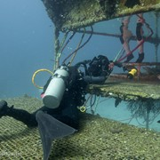Jonathan filming NASA astronaut Jeanette Epps emerging for a training dive at Aquarius Reef Base, Key Largo, Florida, as part of a giant screen (fulldome) film about astronaut training.