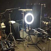 Over-Crowded double ring-light interview set-up