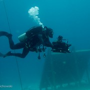 Jonathan filming with the Sony Z100 4K camera at Aquarius Reef Base, Key Largo, Florida, as part of a giant screen (fulldome) film about astronaut training.