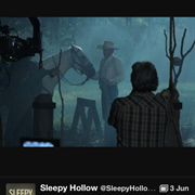Ed with Headless Horseman's horse in Sleepy Hollow