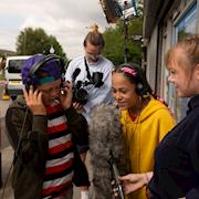 On set of Shiney, the kids listening to themselves rapping and beatboxing
