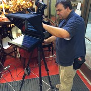 Using a prompter and micro dolly