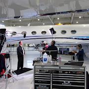 Shooting in a private airplane hangar of a major Silicon Valley corporation.