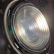 close-up of lens, light on