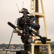 Flying a Sony FS7 on the roof of KOMO TV.