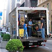Grip truck unloading in downtown San Francisco
