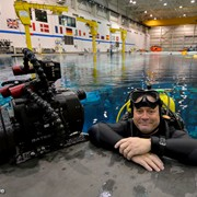 Jonathan Bird on assignment at the Neutral Buoyancy Lab at the Johnson Space Center, Houston, TX, where astronauts are trained for space walks.