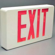 """Illuminated """"EXIT"""" Sign rigged for self-contained operation (via internal 9 volt batteries)."""